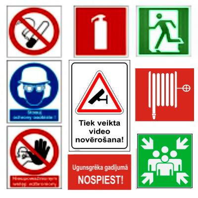 Drošības zīmes, uzlīmes